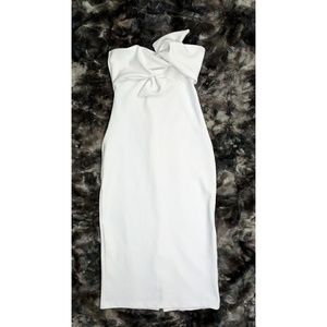 Stunning White Topshop Bow Twisted Textured Dress